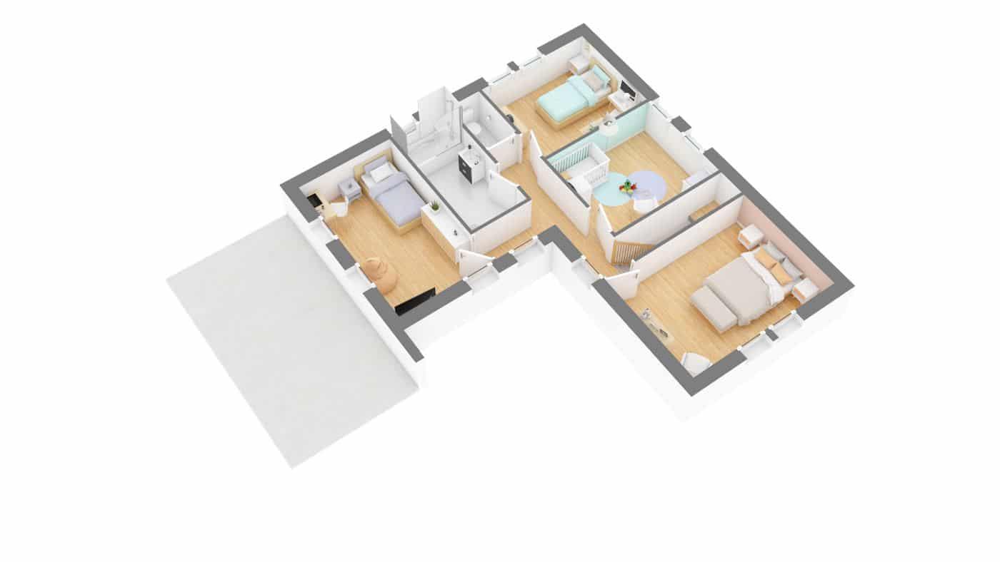 Maisons Omega_Montignac-g1-axo_etage 3d