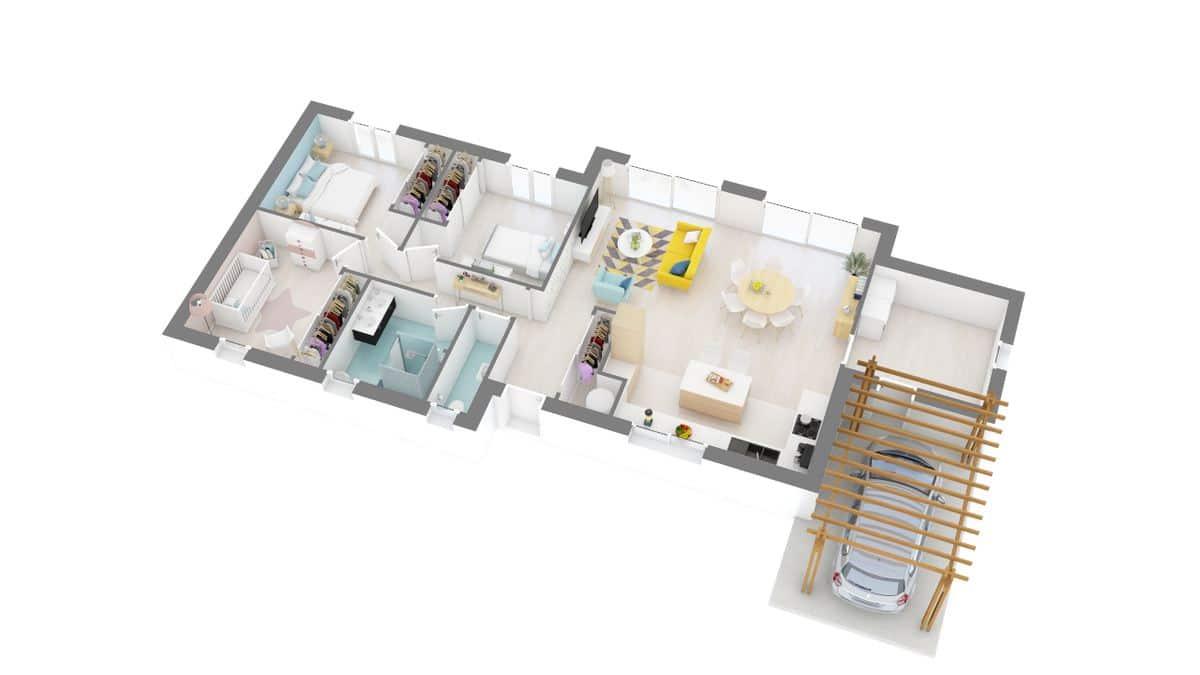 Maisons Omega_plan_maison_thenon-g0-axo_rdc